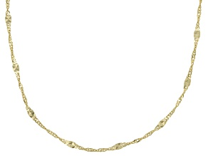 10k Yellow Gold Twisted Mirror Station 24 inch Chain Necklace