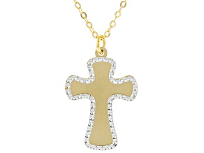 10K Yellow Gold with Rhodium Accents Cross Necklace