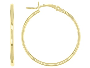 10K Yellow Gold 1.5x25MM Tube Hoop Earrings