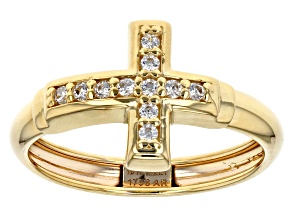 Bella Luce®0.11 Ctw 10k Yellow Gold Horizontal Cross Ring