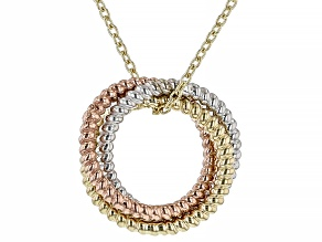 10K Tri-Color Twisted Circle Pendant with Chain