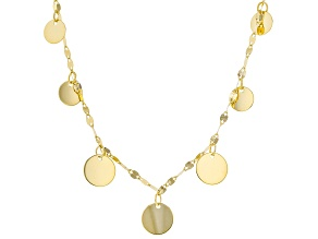 10K Yellow Gold Graduated Circle Necklace 22 Inch