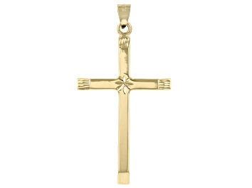 Picture of 14K Yellow Gold Polished and Diamond Cut Cross with Star in Center Pendant