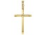14K Yellow Gold Polished and Diamond Cut Cross with Star in Center Pendant