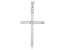 14K White Gold Polished and Diamond Cut Cross with Star in Center Pendant