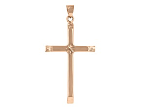 14K Rose Gold Polished and Diamond Cut Cross with Star in Center Pendant