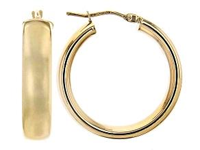14K Yellow Gold 6x25MM Polished Tube Hoop Earrings