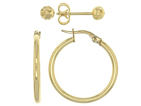 10k Yellow Gold Hollow Hoop 20mm And Diamond Cut Ball 4mm Stud Earrings Set Of Two