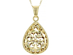 10K Yellow Gold Filigree Pendant with Flat Rolo 18 Inch Chain