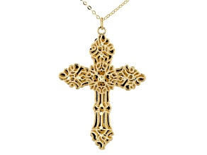 10K Yellow Gold Filigree Magnifica Cross Pendant with 18 Inch Flat Rolo Chain
