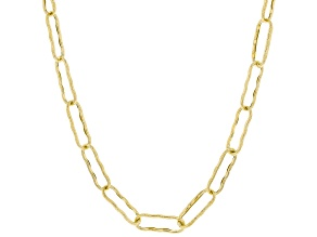 10K Yellow Gold Textured Paperclip Chain