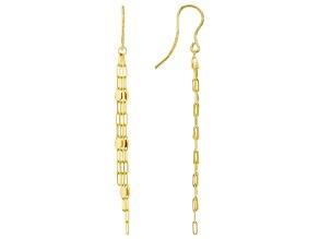 10K Yellow Gold Mirror Link Dangle Earrings