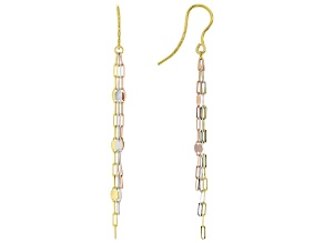 10K Yellow, Rose and White Gold Mirror Link Dangle Earrings