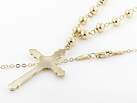 10k Yellow Gold Hollow Cross With Bead Necklace 24 inch