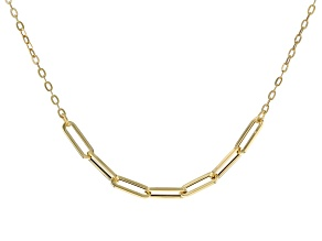 10K Yellow Gold Graduated Paperclip 16 Inch Necklace