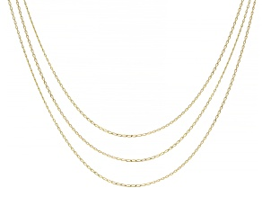 10K Yellow Gold Set of 3 Baby Paperclip 18/20/24 Inch Chains