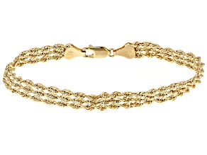 10k Yellow Gold Hollow 3 Row Rope Bracelet 7.5 inch