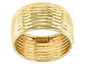 10K Yellow Gold Diamond-Cut Multi-Row Band Ring