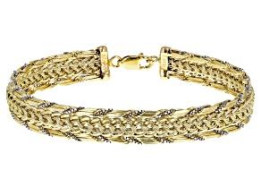 10k Yellow Gold and Rhodium over 10k Yellow Gold Diamond Cut Designer Link 7 1/2 Inch Bracelet