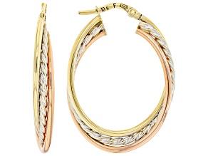 10K Yellow Gold, 10K Rose Gold and 10K White Gold Diamond-Cut Tube Hoop Earring