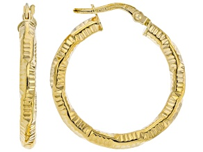 10K Yellow Gold 3x20MM Diamond-Cut Tube Hoop Earrings