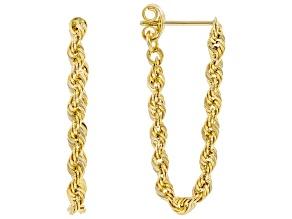 10K Yellow Gold 2.6MM Diamond-Cut Rope Link Dangle Earrings