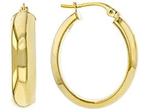 14K Yellow Gold 5.7x14MM D-Shape Oval Tube Hoop Earrings