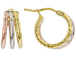 14K Yellow Gold, 14K Rose Gold and 14K White Gold 1.5x10MM Tube Hoop Earrings