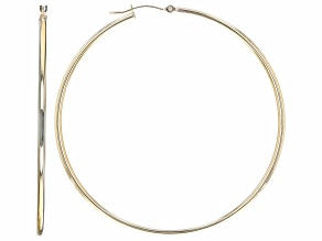 10K Yellow Gold 2x60MM Tube Hoop Earrings