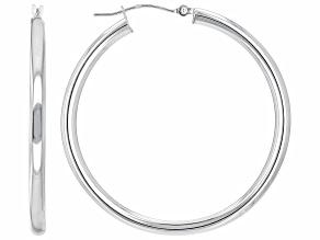 Rhodium Over 10K White Gold 3x40MM Tube Hoop Earrings