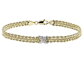 10k Yellow Gold With Rhodium Over 10k Yellow Gold Rope Bracelet 7.5 inch