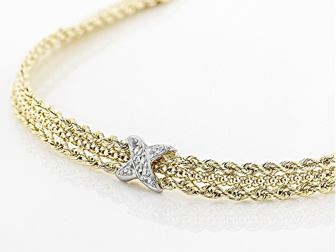 10k Yellow Gold & Rhodium Over Yellow Gold Diamond Cut Designer Rope 7 1/2 Inch Bracelet