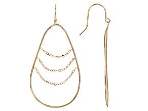 10k Yellow Gold Hollow Teardrop Hoop Earrings