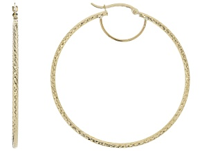10k Yellow Gold Diamond Cut Tube Hoop Earrings