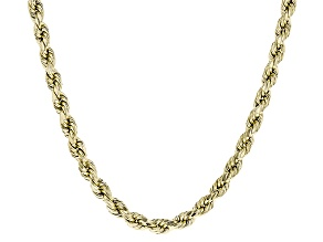 10k Yellow Gold Hollow Rope Necklace 24 inch