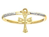 10k Yellow Gold With Rhodium Over 10k Yellow Gold Hammered Dangle Cross Ring