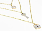 10k Yellow Gold With Rhodium Over 10k Yellow Gold Layered Charm 17 inch Necklace