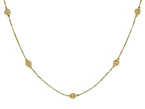 10k Yellow Gold Love Knot Station 20 inch Necklace