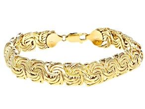 10k Yellow Gold Domed Designer Rosetta 7 1/2 inch Bracelet