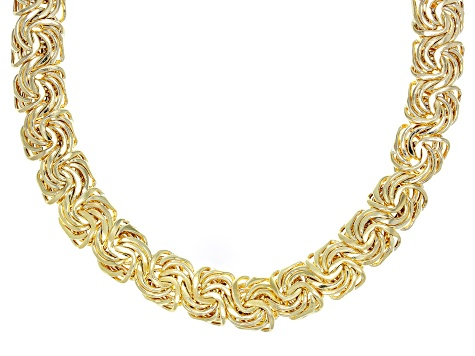 10k Yellow Gold Domed Designer Rosetta 17 inch Necklace