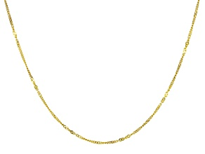 10k Yellow Gold Curb Station Chain Necklace 18 inch