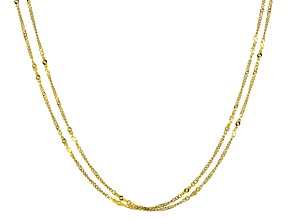 10k Yellow Gold Two Strand Curb Station Chain Necklace 20 inch