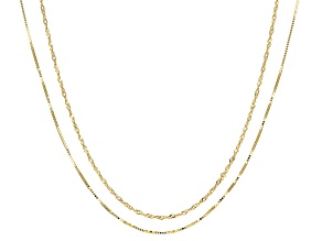 10k Yellow Gold Baby Box And Singapore Chain Necklace Set Of Two