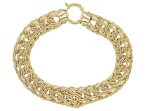 10k Yellow Gold Hollow Woven Bracelet 8 inch 11.00mm
