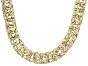 10k Yellow Gold Hollow Woven Necklace 18 inch 11.00mm