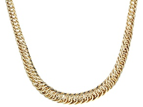 10k Yellow Gold Designer Graduated Woven 18 inch Necklace