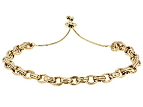 10k Yellow Gold Ribbed Centered Open Rolo Sliding Adjustable Bracelet