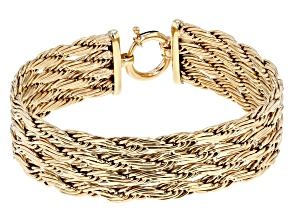 10k Yellow Gold Multi-Row Designer Rope 8 inch Bracelet