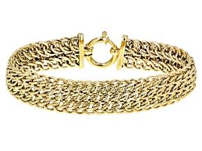 10k Yellow Gold Designer Woven 8 inch Bracelet
