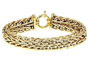 10k Yellow Gold Designer Wide Wheat 8 inch Bracelet